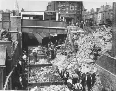 Train line at Six Dials, Northam, during Southampton Blitz