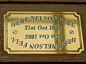 Plaque on the part of the Deck where Nelson Fell at Trafalgar despite winning the battle.