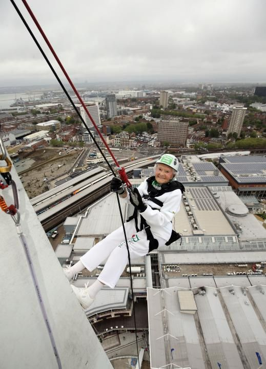 'Daring Doris' Long, 101-year-old abseils down Portsmouth's Spinnaker Tower on her birthday.
